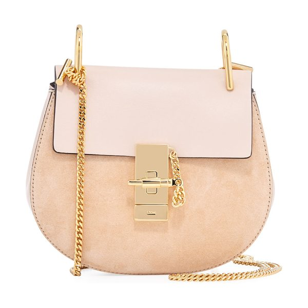 "CHLOE Mini Drew Shoulder Bag - Chloe ""Drew"" calf suede and leather saddle bag. Pale..."