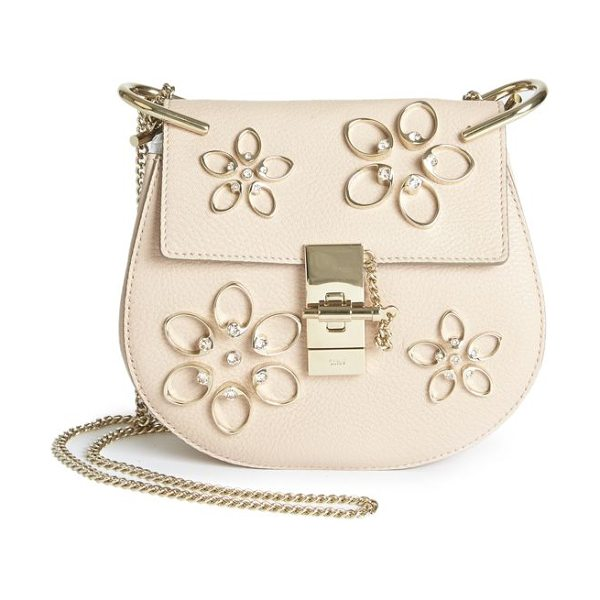 CHLOE Drew mini floral-embroidered leather saddle crossbody bag in cementpink - Italian leather crossbody with shimmering floral...