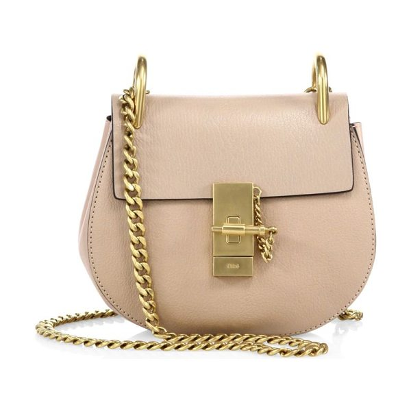 Chloe drew mini leather saddle crossbody bag in biscotti beige - Iconic leather saddle bag with radiant goldtone...