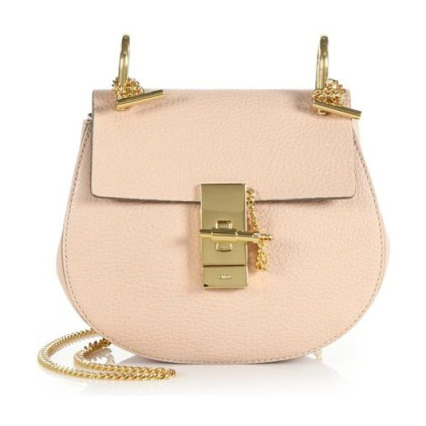 Chloe mini drew leather saddle bag in cement pink
