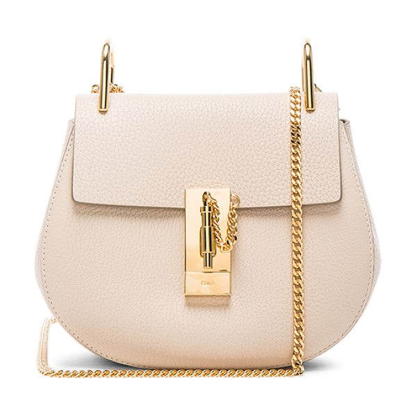 CHLOE Drew mini shoulder bag in neutrals - Grained lambskin leather with calfskin suede lining and...