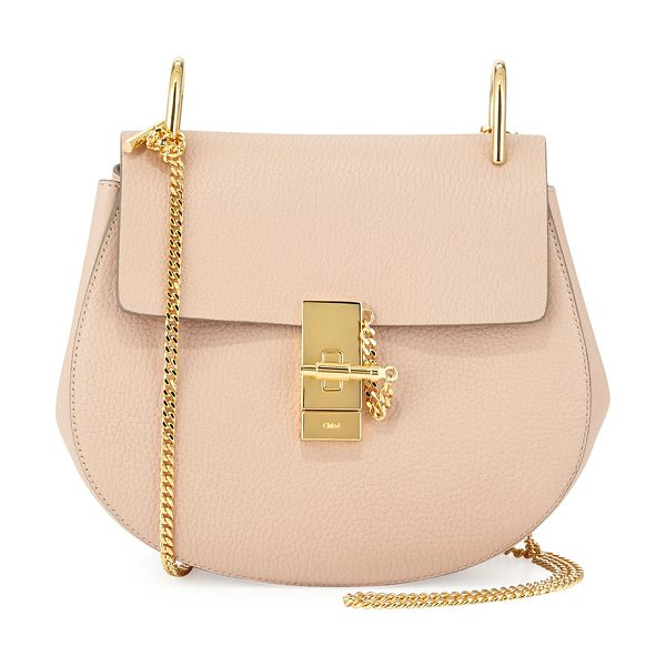 CHLOE Drew small chain saddle bag in cement pink -  Chloe pebbled lambskin saddle bag. Pale golden...