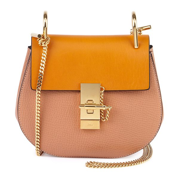 Chloe Drew Small Chain Shoulder Bag in sand - Chloe grained calfskin shoulder bag. Golden hardware....