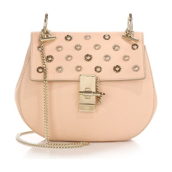 Chloe Drew small embellished leather saddle crossbody bag in peonypink
