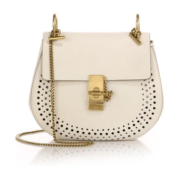 CHLOE drew small perforated leather saddle crossbody bag - A signature saddle-bag style of smooth, rich leather,...