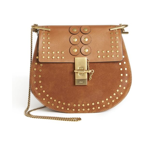 Chloe drew small studded leather & suede crossbody bag in caramel - Signature western-inspired design in supple leather and...