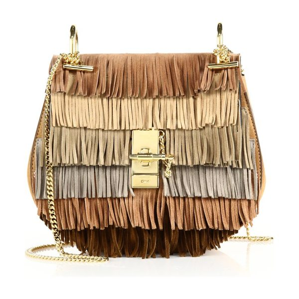 CHLOE Drew small suede fringe shoulder bag - Layers of colorful fringe infuse trend-right appeal to...