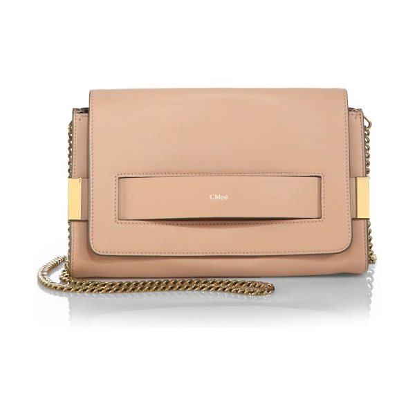 Chloe Elle medium clutch with chain in blushnude - A chic option for day or night, this leather clutch...