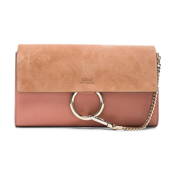 CHLOE Faye clutch - Calfskin leather with raw lining and gold-tone hardware....