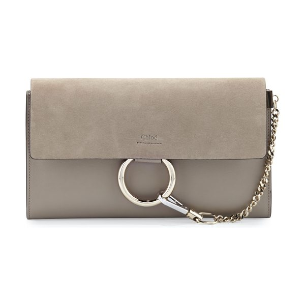 Chloe Faye Leather & Suede Clutch Bag in light grey - Chloe calfskin and suede clutch bag. Pale golden and...