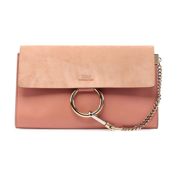 Chloe Faye leather & suede clutch bag in rose - Chloe clutch bag in leather. Pale golden hardware with...