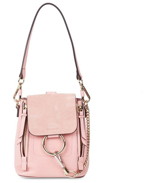 Chloe faye leather & suede mini backpack in washedpink - Modern mixed media backpack with signature hardware....