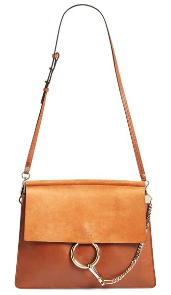 Chloe 'faye' leather & suede shoulder bag in classic tobacco