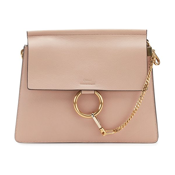 Chloe Faye Medium Leather Shoulder Bag in light beige - Chloe grained leather shoulder bag. Available in...