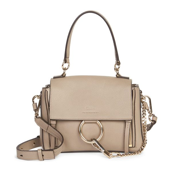 Chloe medium faye leather bag in carbonbrown - Leather shoulder bag with signature hardware. Removable...