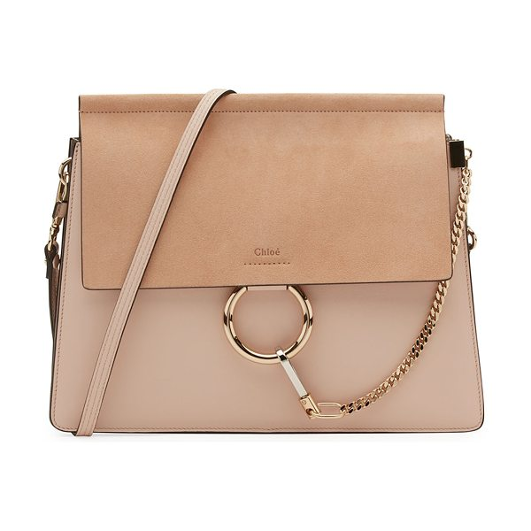 CHLOE Faye Medium Leather & Suede Shoulder Bag in pink - Chloe soft leather shoulder bag. Pale golden and...