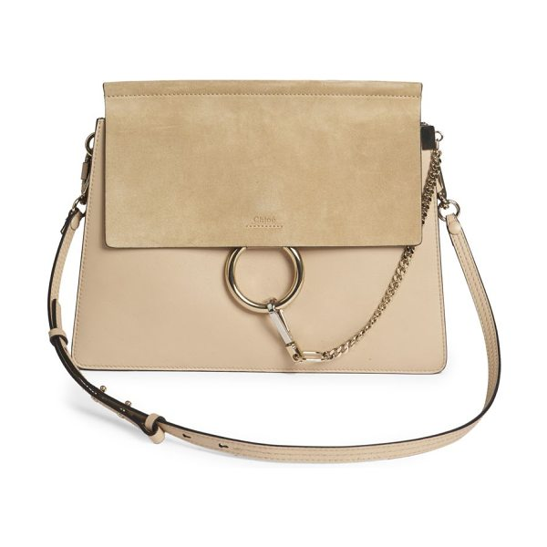 Chloe faye medium suede & leather shoulder bag in pearlbeige - Chic suede-and-leather design with edgy hardware....