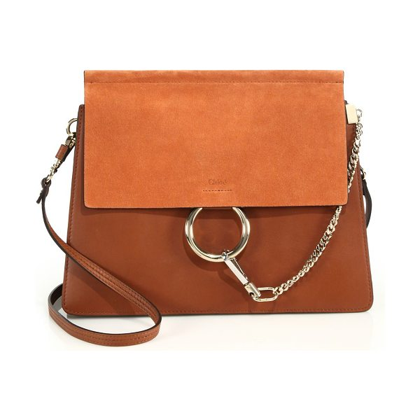 Chloe medium faye leather & suede bag in classictobacco - Chic leather bag with suede flap and signature hardware....