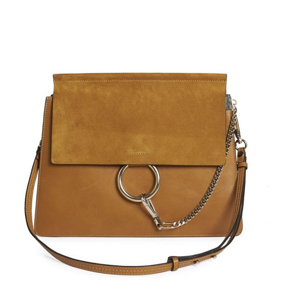Chloe faye medium suede & leather shoulder bag in mustardbrown - Chic suede-and-leather design with edgy hardware....