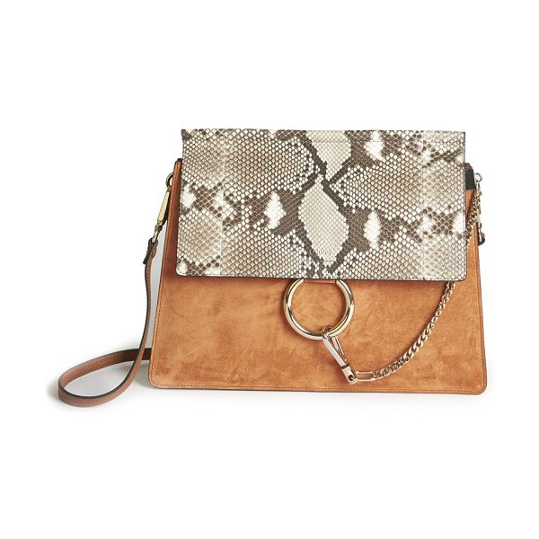 CHLOE faye medium suede & python-embossed leather shoulder bag - Buttery suede shoulder bag with exotic python-embossed...