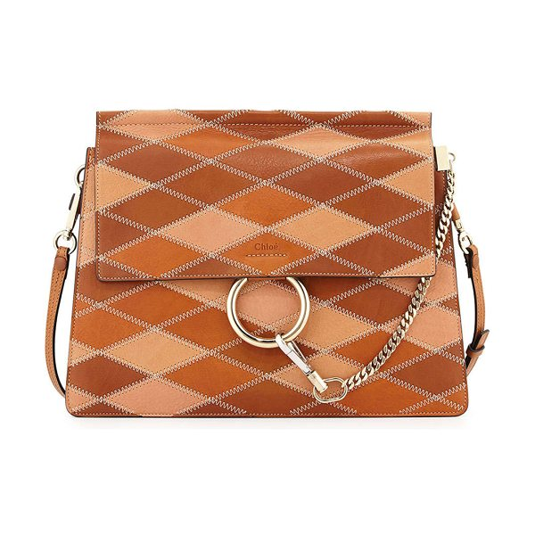 Chloe Faye Patchwork Leather Shoulder Bag in caramel - Chloe patchwork calfskin shoulder bag with zigzag...
