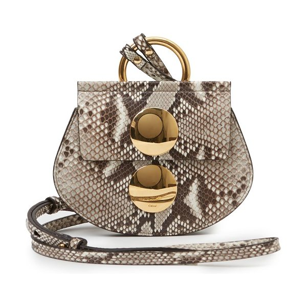 Chloe Faye python mini crossbody bag in natural - Luminous metal discs and exquisite python construction...