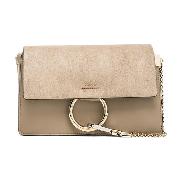 "Chloe Small Faye Suede & Calfskin Shoulder Bag in gray - ""Calfskin leather with suede lining and pale gold-tone..."