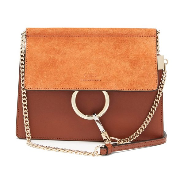 Chloe faye small leather and suede cross-body bag in brown
