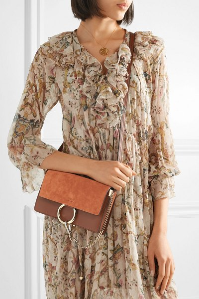Chloe faye small leather and suede shoulder bag in tan