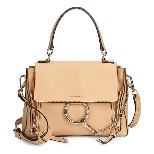 Chloe small faye leather bag in blushnude - Leather shoulder bag with signature hardware. Removable,...