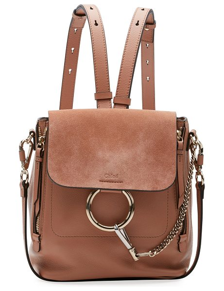 "Chloe Faye Small Leather/Suede Backpack in taupe - Chloe calf leather and suede backpack. Approx. 7.8""H x..."