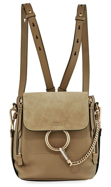 "CHLOE Faye Small Leather/Suede Backpack in tan - Chloe calf leather and suede backpack. Approx. 7.8""H x..."