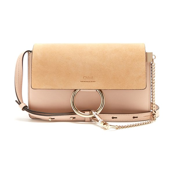 Chloe Faye Small Suede And Leather Shoulder Bag in light pink