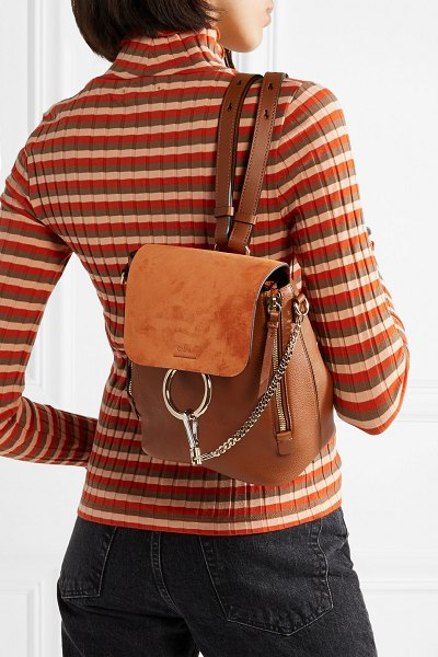 Chloe faye small textured-leather and suede backpack in tan - Sized to hold  every 6c34461d5b