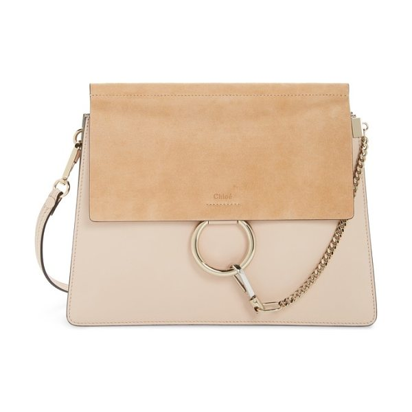 Chloe faye suede & leather shoulder bag in cement pink - Iconic equestrian-inspired hardware gleams against the...