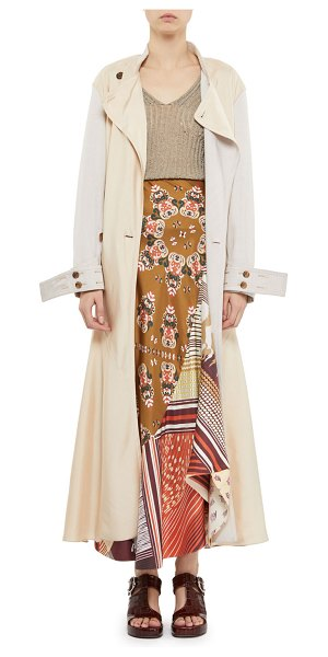 Chloe Fluid Twill Ankle-Length Trench Coat in camel