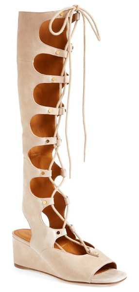 Chloe foster suede wedge gladiator sandal in cream - Chloe refreshes the forever-chic gladiator sandal with a...