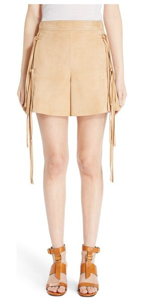 Chloe fringe trim suede shorts in sandstone - Long knotted fringe sways from the hips of these supple...
