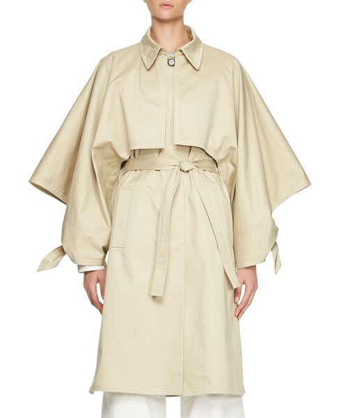 Chloe Gabardine Button-Front Trenchcoat in sand - Chloe gabardine trenchcoat. Spread collar; hidden-button...
