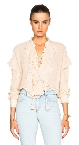 Chloe Gauzy Linen Ruffle Front Blouse in neutrals - Self: 90% linen 10% nylon - Trim: 100% cotton.  Made in...