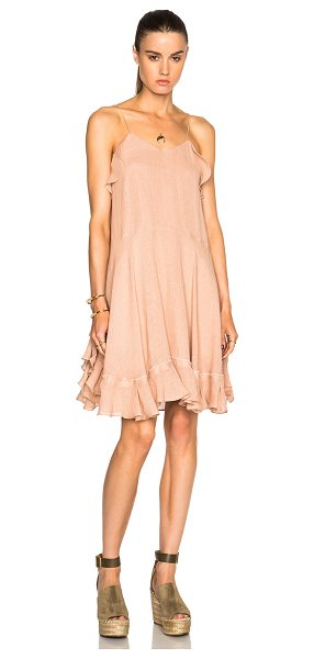 CHLOE Gauzy Linen Ruffle Mini Dress - Self: 90% linen 10% nylonLining: 100% cotton. Made in...