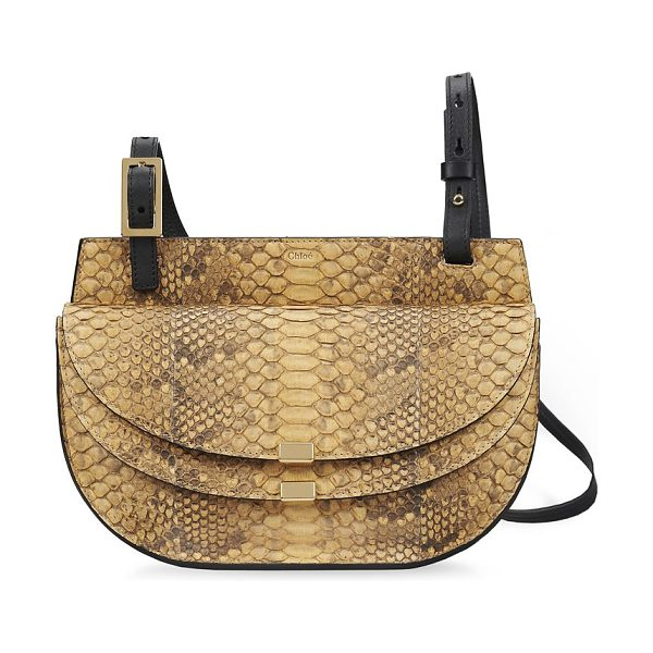 Chloe Georgia python crossbody bag in curryyellow - Defined by a unique dual-flap design, the Georgia is...