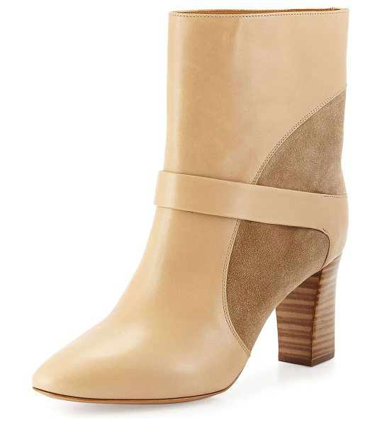 """Chloe Gianna leather colorblock boot in taupe - Chloe colorblock leather and suede boot. 3"""" stacked..."""