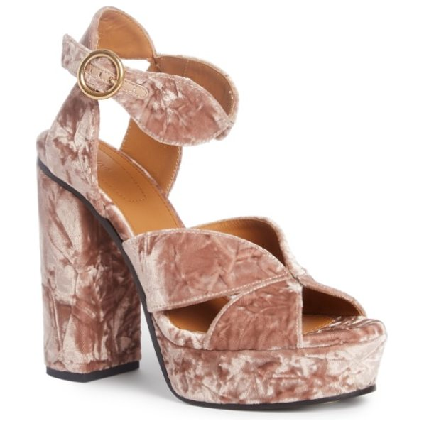 Chloe graphic leaves platform sandal in tan rose velvet - High-pile crushed velvet brings luxe texture and marbled...