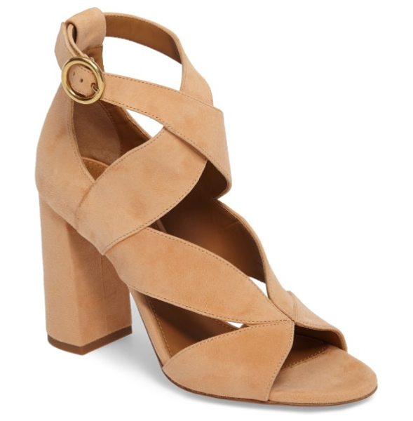 Chloe graphic leaves sandal in bright peach - Wide, sweeping suede straps crisscross a dramatic sandal...
