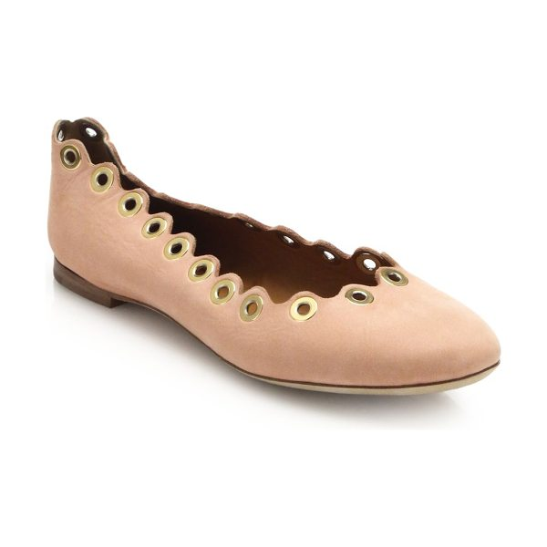 Chloe Grommet scalloped leather ballet flats in pink - Grommets lend just a touch of tough-luxe chic to these...