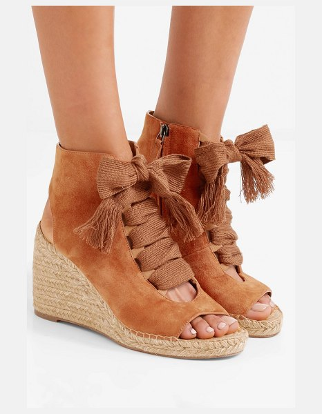 Chloe harper lace-up suede espadrille wedge sandals in tan