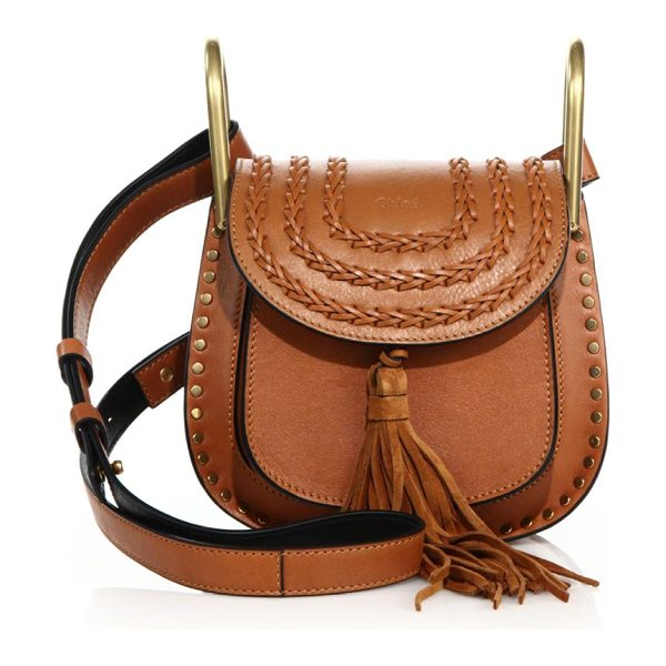 Chloe hudson mini tasseled leather crossbody bag in caramel - Equestrian-inspired bag with tassel and topstitched...