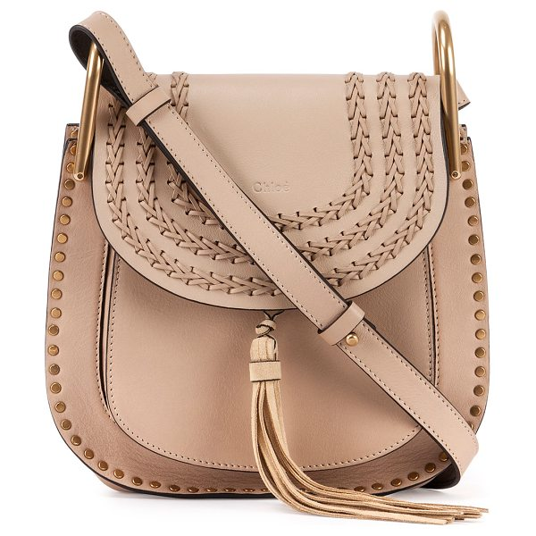 Chloe Hudson Small Leather Shoulder Bag in beige - Chloe calfskin shoulder bag with woven and stud trim....