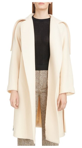 Chloe iconic exaggerated collar wool blend coat in beige